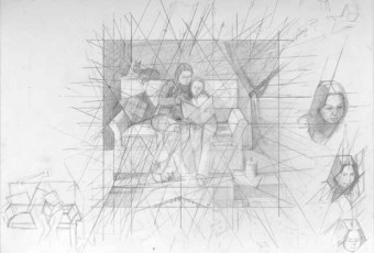 Drawing study for double portrait, geometry and art