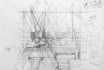 Drawing study, composition study, geometry and art