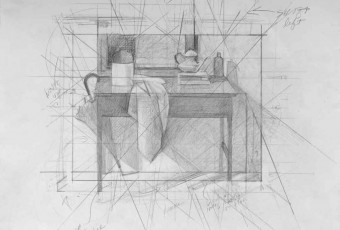 Composition study, geometry in art, still life