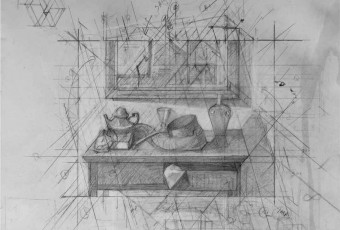 Graphite drawing, geometric study for composition,