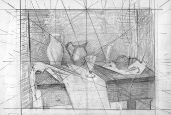 Two glasses, composition study, contemporary artist